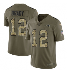 Youth Nike New England Patriots #12 Tom Brady Limited Olive/Camo 2017 Salute to Service NFL Jersey