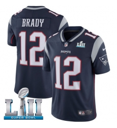 Youth Nike New England Patriots #12 Tom Brady Navy Blue Team Color Vapor Untouchable Limited Player Super Bowl LII NFL Jersey