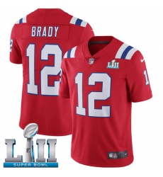 Youth Nike New England Patriots #12 Tom Brady Red Alternate Vapor Untouchable Limited Player Super Bowl LII NFL Jersey
