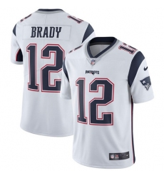 Youth Nike New England Patriots #12 Tom Brady White Vapor Untouchable Limited Player NFL Jersey
