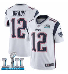 Youth Nike New England Patriots #12 Tom Brady White Vapor Untouchable Limited Player Super Bowl LII NFL Jersey