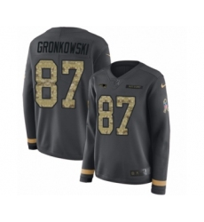 Women's Nike New England Patriots #87 Rob Gronkowski Limited Black Salute to Service Therma Long Sleeve NFL Jersey