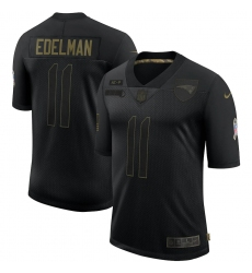 Men's New England Patriots #11 Julian Edelman Black Nike 2020 Salute To Service Limited Jersey