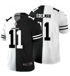 Men's New England Patriots #11 Julian Edelman Black White Limited Split Fashion Football Jersey