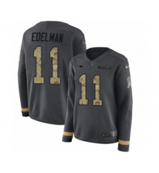 Women's Nike New England Patriots #11 Julian Edelman Limited Black Salute to Service Therma Long Sleeve NFL Jersey