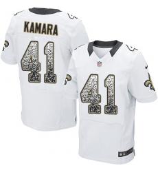 Men's Nike New Orleans Saints #41 Alvin Kamara Elite White Road Drift Fashion NFL Jersey