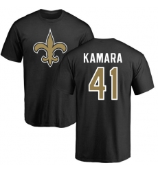 NFL Nike New Orleans Saints #41 Alvin Kamara Black Name & Number Logo T-Shirt