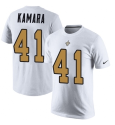 Nike New Orleans Saints #41 Alvin Kamara White Rush Pride Name & Number T-Shirt