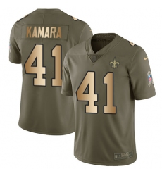 Youth Nike New Orleans Saints #41 Alvin Kamara Limited Olive/Gold 2017 Salute to Service NFL Jersey