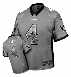 Men's Nike Oakland Raiders #4 Derek Carr Elite Grey Drift Fashion NFL Jersey