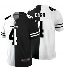 Men's Oakland Raiders #4 Derek Carr Black White Limited Split Fashion Football Jersey