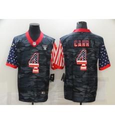 Men's Oakland Raiders #4 Derek Carr Camo Flag Nike Limited Jersey
