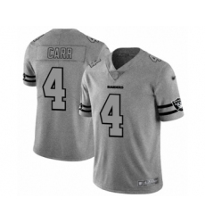 Men's Oakland Raiders #4 Derek Carr Gray Team Logo Gridiron Limited Player Football Jersey
