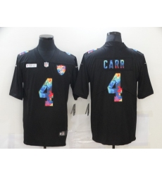 Men's Oakland Raiders #4 Derek Carr Rainbow Version Nike Limited Jersey