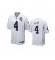 Men's Oakland Raiders #4 Derek Carr White 2020 Inaugural Season Game Jersey