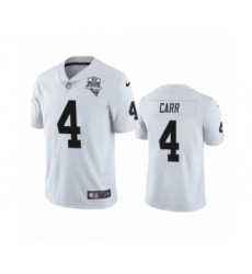 Men's Oakland Raiders #4 Derek Carr White 2020 Inaugural Season Vapor Limited Jersey