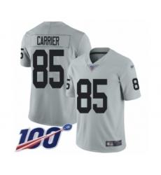 Men's Oakland Raiders #85 Derek Carrier Limited Silver Inverted Legend 100th Season Football Jersey