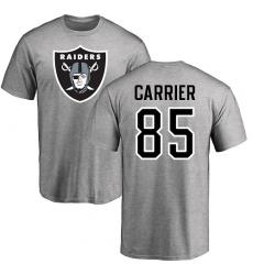 NFL Nike Oakland Raiders #85 Derek Carrier Ash Name & Number Logo T-Shirt