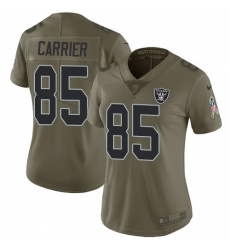 Women Nike Oakland Raiders #85 Derek Carrier Limited Olive 2017 Salute to Service NFL Jersey