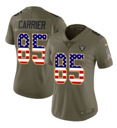 Women Nike Oakland Raiders #85 Derek Carrier Limited Olive USA Flag 2017 Salute to Service NFL Jersey