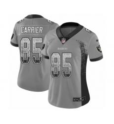 Women's Nike Oakland Raiders #85 Derek Carrier Limited Gray Rush Drift Fashion NFL Jersey