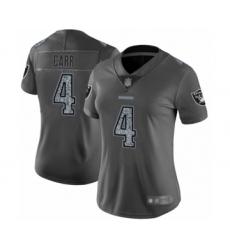 Women's Oakland Raiders #4 Derek Carr Gray Static Fashion Limited Player 100th Season Football Jersey