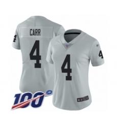 Women's Oakland Raiders #4 Derek Carr Limited Silver Inverted Legend 100th Season Football Jersey