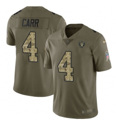 Youth Nike Oakland Raiders #4 Derek Carr Limited Olive/Camo 2017 Salute to Service NFL Jersey