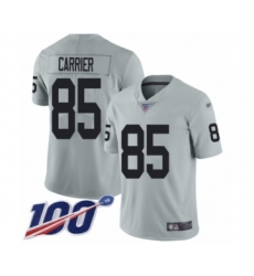 Youth Oakland Raiders #85 Derek Carrier Limited Silver Inverted Legend 100th Season Football Jersey
