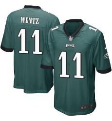 Men's Nike Philadelphia Eagles #11 Carson Wentz Game Midnight Green Team Color NFL Jersey