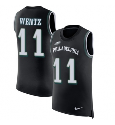 Men's Nike Philadelphia Eagles #11 Carson Wentz Limited Black Rush Player Name & Number Tank Top NFL Jersey