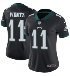 Women's Nike Philadelphia Eagles #11 Carson Wentz Black Alternate Vapor Untouchable Limited Player NFL Jersey
