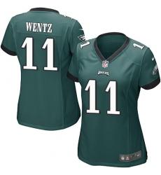 Women's Nike Philadelphia Eagles #11 Carson Wentz Game Midnight Green Team Color NFL Jersey