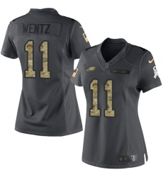 Women's Nike Philadelphia Eagles #11 Carson Wentz Limited Black 2016 Salute to Service NFL Jersey
