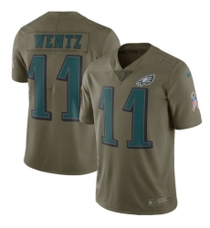 Youth Nike Philadelphia Eagles #11 Carson Wentz Limited Olive 2017 Salute to Service NFL Jersey