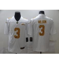 Men's Seattle Seahawks #3 Russell Wilson White Nike Leopard Print Limited Jersey