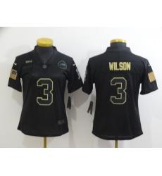 Women's Seattle Seahawks #3 Russell Wilson Black Nike 2020 Salute To Service Limited Jersey