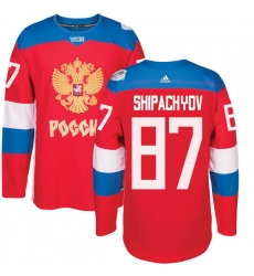 Men's Adidas Team Russia #87 Vadim Shipachyov Authentic Red Away 2016 World Cup of Hockey Jersey