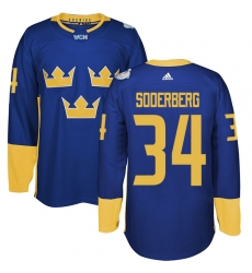 Men's Adidas Team Sweden #34 Carl Soderberg Premier Royal Blue Away 2016 World Cup of Hockey Jersey