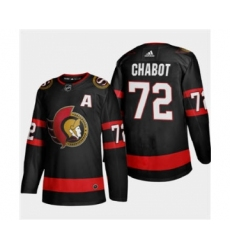 Men's Ottawa Senators #72 Thomas Chabot Black 2020-21 Authentic Player Away Stitched Hockey Jersey