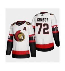 Men's Ottawa Senators #72 Thomas Chabot White 2020-21 Authentic Player Away Stitched Hockey Jersey