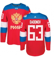Men's Adidas Team Russia #63 Evgenii Dadonov Authentic Red Away 2016 World Cup of Hockey Jersey
