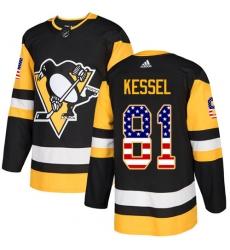 Men's Adidas Pittsburgh Penguins #81 Phil Kessel Authentic Black USA Flag Fashion NHL Jersey