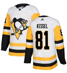 Men's Adidas Pittsburgh Penguins #81 Phil Kessel Authentic White Away NHL Jersey