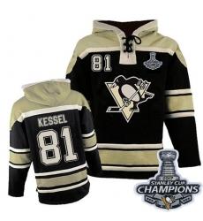 Men's Old Time Hockey Pittsburgh Penguins #81 Phil Kessel Premier Black Sawyer Hooded Sweatshirt 2017 Stanley Cup Champions