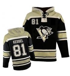 Men's Old Time Hockey Pittsburgh Penguins #81 Phil Kessel Premier Black Sawyer Hooded Sweatshirt NHL Jersey