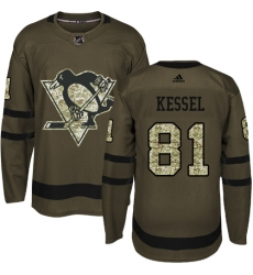 Men's Reebok Pittsburgh Penguins #81 Phil Kessel Authentic Green Salute to Service NHL Jersey