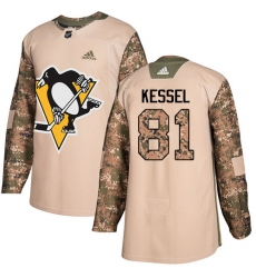 Youth Adidas Pittsburgh Penguins #81 Phil Kessel Authentic Camo Veterans Day Practice NHL Jersey