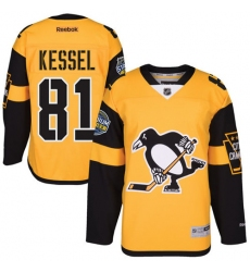Youth Reebok Pittsburgh Penguins #81 Phil Kessel Authentic Gold 2017 Stadium Series NHL Jersey