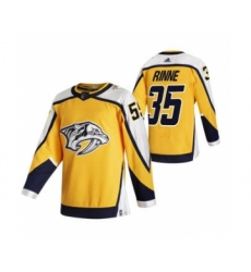 Men's Nashville Predators #35 Pekka Rinne Yellow 2020-21 Reverse Retro Alternate Hockey Jersey